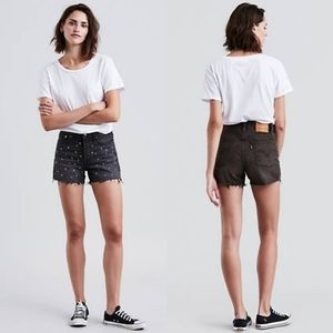 Levi's Wedgie Fit Shorts Bling Bling Black Cut Off